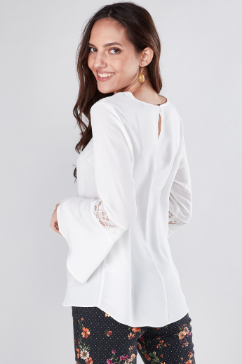 Round Neck Top with Flared Sleeves and Lace Insert