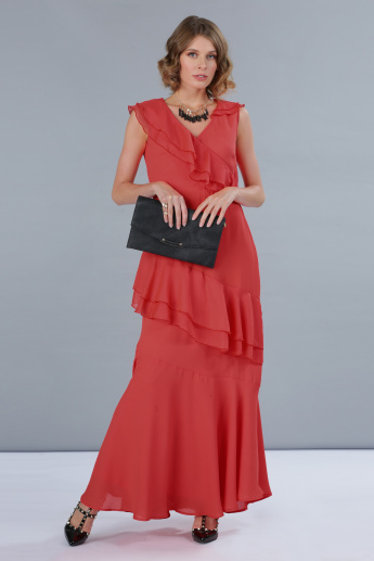Sleeveless Tiered Maxi Dress with Asymmetric Ruffles