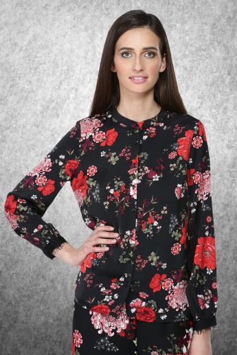 Printed Mandarin Collar Shirt with Long Sleeves
