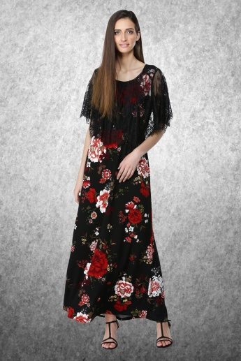 Printed Maxi Dress with Lace Cape and Round Neck