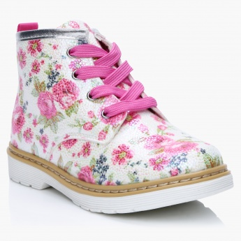 Textured Floral Print Lace-Up Boots