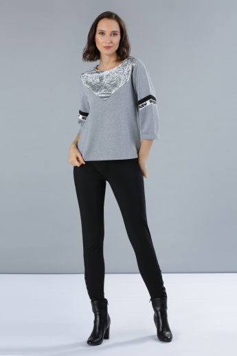 Melange T-Shirt with 3/4 Sleeves and Plush Detailing