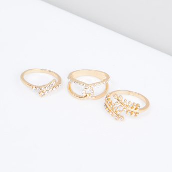 Studded Finger Ring - Set of 3