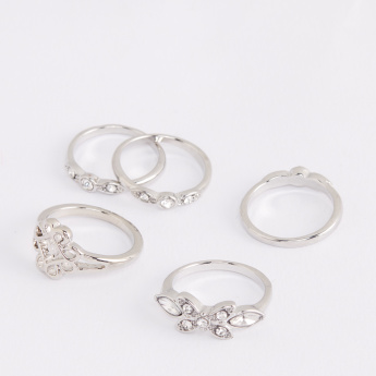 Crystal Studded Finger Ring - Set of 5