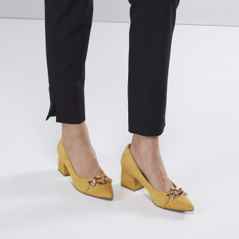 Metallic Detail Slip-On Shoes with Block Heels
