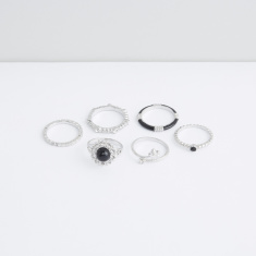 Metallic Finger Ring - Set of 6