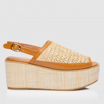Textured Wedge Sandals with Buckle Strap