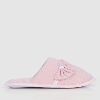 39dfdc47a2cf0 Mule Bedroom Slippers with Bow Applique | شباشب غرف النوم | النساء ...