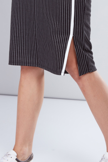 Striped Tube Skirt with Tape Detail and Side Slit