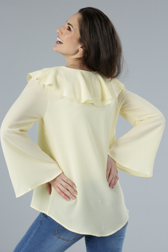 Ruffle Detail Top with Long Flared Sleeves