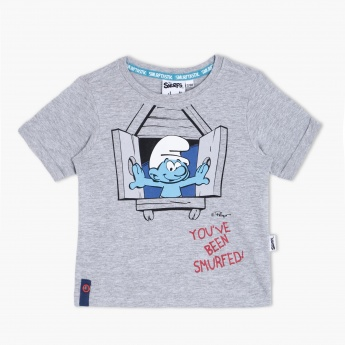 Smurfs Printed T-Shirt with Short Sleeves