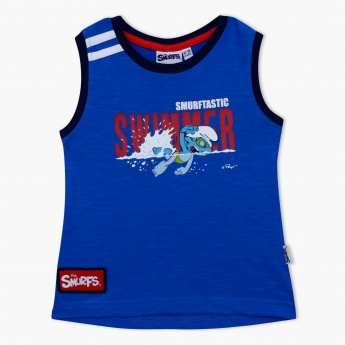 Smurfs Printed Sleeveless T-Shirt