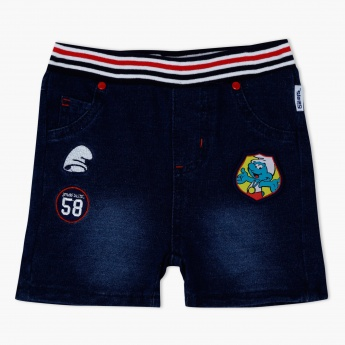 The Smurfs Denim Shorts with Applique Detailing