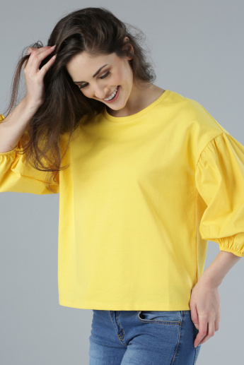 Round Neck Top with Balloon Sleeves