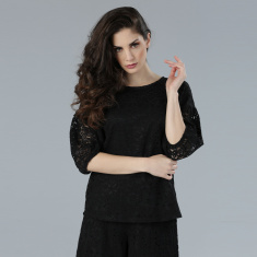 Round Neck Lace Top with 3/4 Sleeves