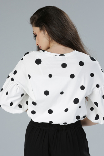 Printed Shell Top with Round Neck