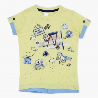 Graphic Print Short Sleeves Round Neck T-Shirt with Applique