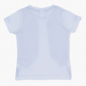Graphic Print Short Sleeves Round Neck T-Shirt with Bow Applique