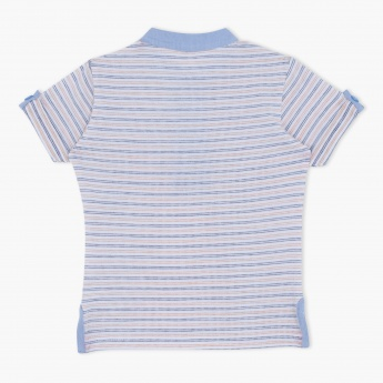 Striped Short Sleeves Henley Neck T-Shirt with Appliques