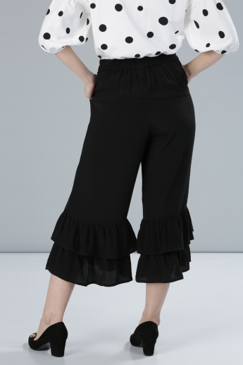 Ruffle Detail Culottes with Elasticised Waistband