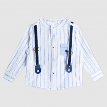 Striped Mandarin Collar Long Sleeves Shirt with Suspenders