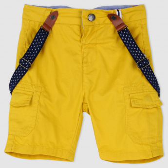 Shorts with Suspenders and Button Closure