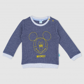 Mickey Mouse Embroidered Long Sleeves Sweat Top
