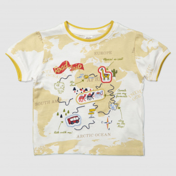 Map Print T-Shirt with Embroidered Detail