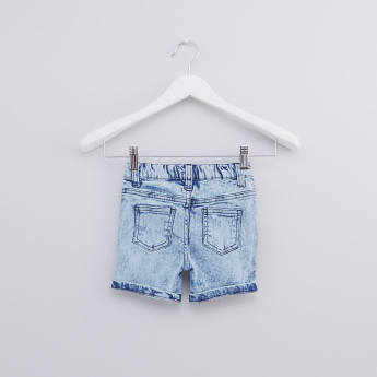 Distressed Denim Shorts with Button Closure and Elasticised Waistband