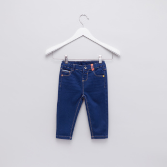 Pocket Detail Jeans with Button Closure