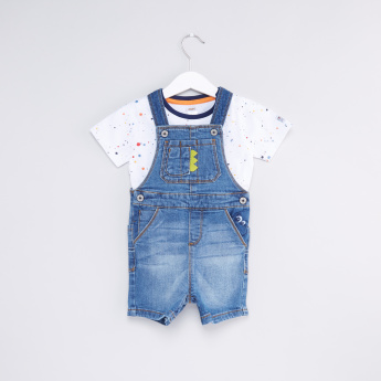 Printed T-Shirt with Denim Dungarees