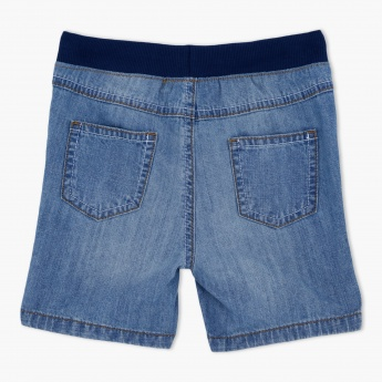 Elasticised Waistband Denim Shorts