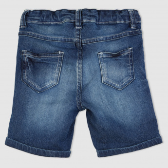 Denim Shorts with Button Closure and Pocket Detail