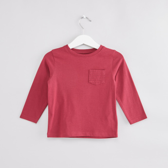 14d760819ec03 Pocket Detail Round Neck Long Sleeves T-Shirt