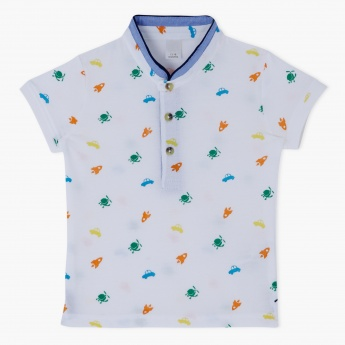 Printed Henley Neck T-Shirt