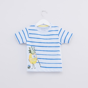Striped Round Neck Short Sleeves T-Shirt