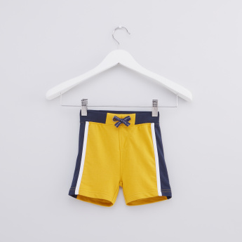 Tape Detail Shorts with Elasticised Waistband and Drawstring