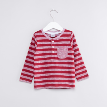 Striped Henley Neck Long Sleeves T-Shirt