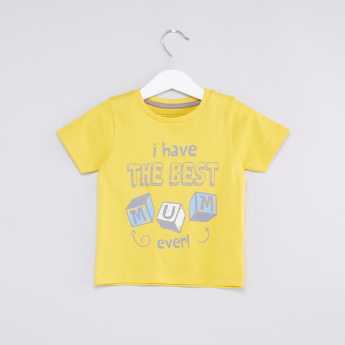 Text Printed Round Neck T-Shirt