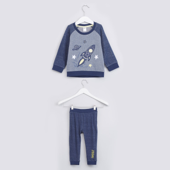 Embroidered Applique Detail Sweatshirt with Jog Pants