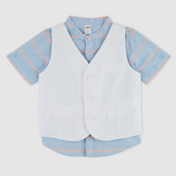 Striped Short Sleeves Shirt with Waistcoat