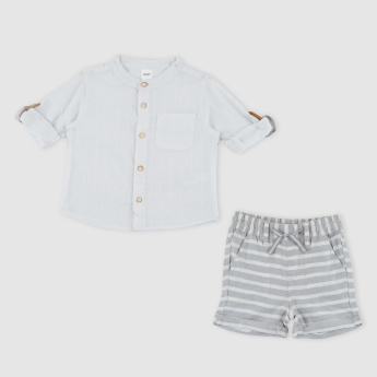 Mandarin Collar Shirt with Striped Shorts