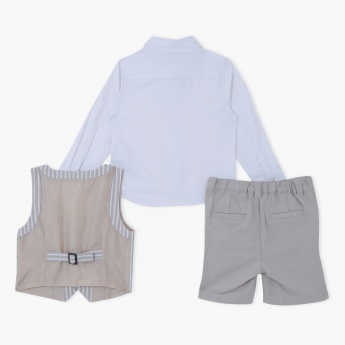 Long Sleeves Shirt with Striped Waistcoat and Shorts Set