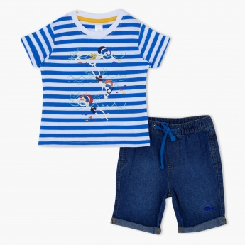 2-Piece Striped T-Shirt and Shorts Set