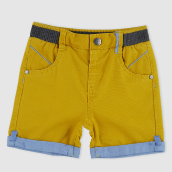Textured Shorts with Button Closure and Pocket Detail