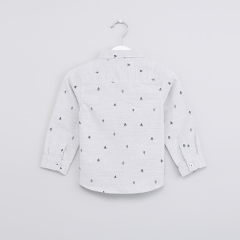 Textured and Printed Long Sleeves Shirt