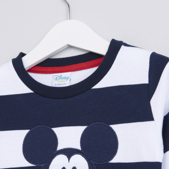 Mickey Mouse Striped Long Sleeves Sweat Top
