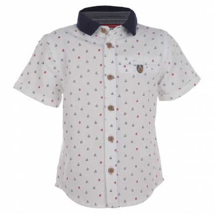 Nautical Print Short-sleeved Shirt