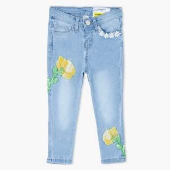 Embroidered Full Lenght Jeans with Button Closure