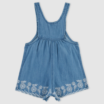 Denim Dungarees with Button Closure